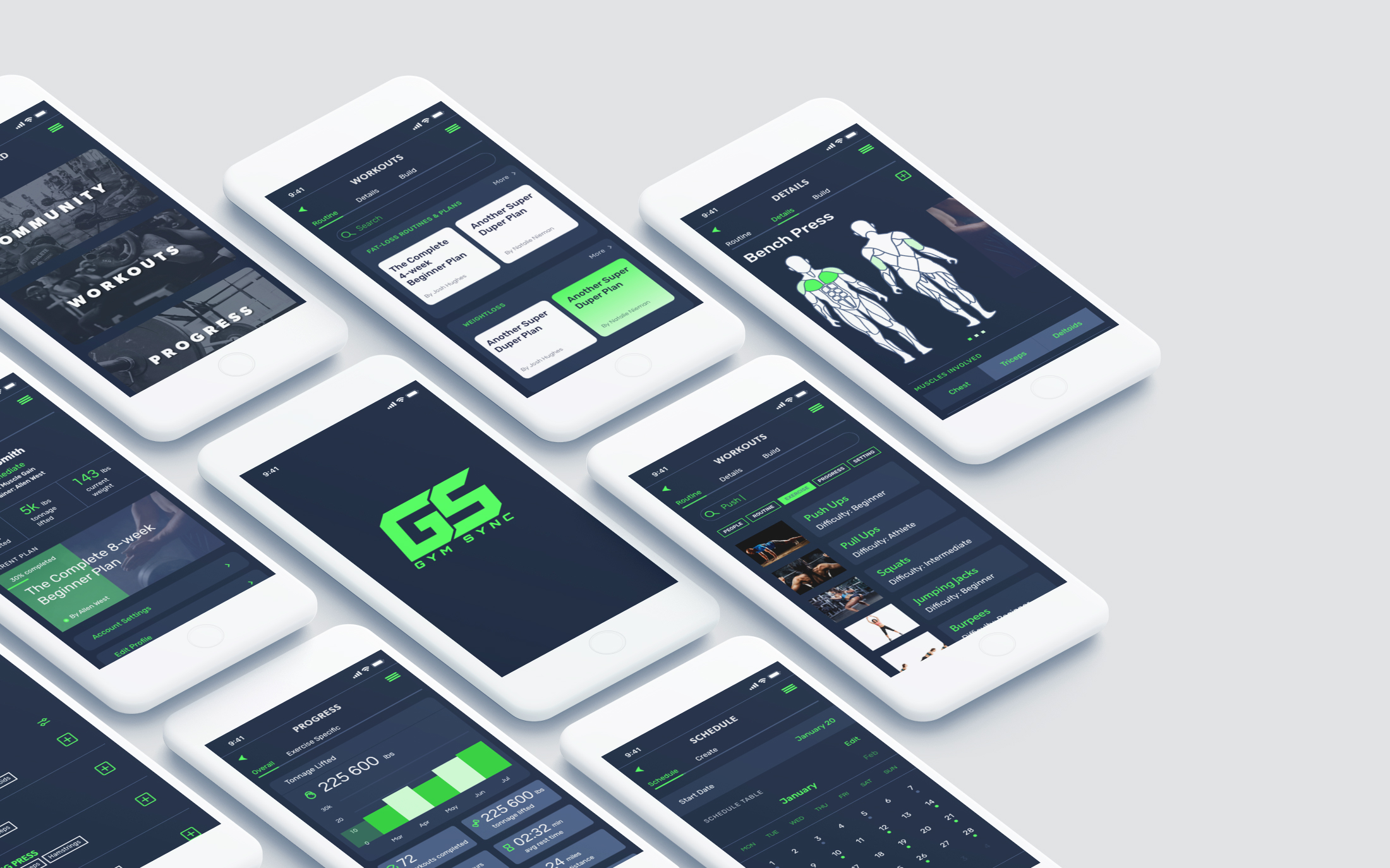 Gym Sync workout app isometric mockup design showcase