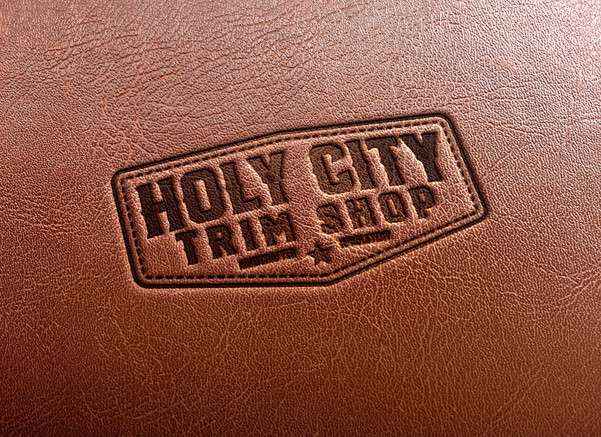 Holy City Trim Shop leather stamp logo